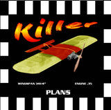 "Full Size Printed Plan & Building Notes  *Killer* Control Line Combat W/S 34-1/4""  ENGINE .35"