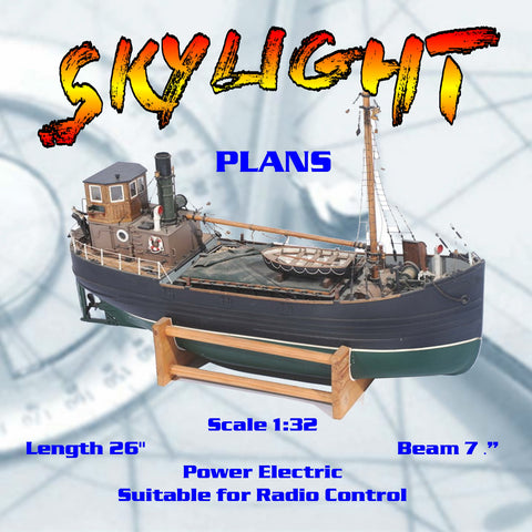 "Full Size Printed Plan vintage 1968 Scale 1:32 Clyde Puffer  ""SKYLIGHT"" Suitable for Radio Control"