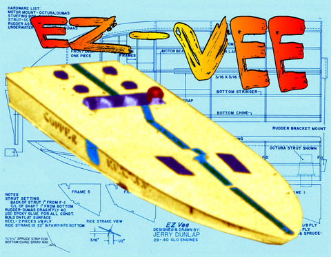 "Full Size printed Plan L 32""  B 11"" Engine .40 easy build Racing boat for radio control"