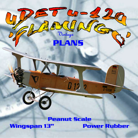 "Full size printed plans Peanut Scale "" UDET U-12a 'FLAMINGO' "" The original model fly's quite well"