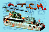 Full Size Printed Plans with Article US Vietnam craft Armoured Troop Carrier Helicopter