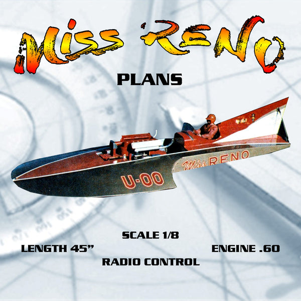 "FULL SIZE PRINTED PLANS SCALE 1/8 Hydro Miss RENO L 45"" for Radio Control"
