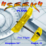 "Full Size Printed Plan 1957 W/S 56""  Engine .15 to .23 ""SEEK"" high performance contest gassies"
