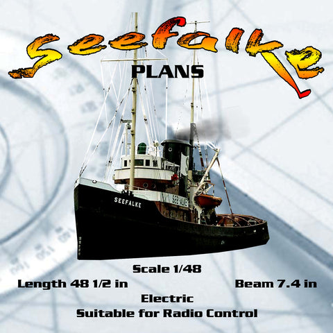 Full Size Printed Plans Scale 1/48 48 1/2 in Seefalke Tug Suitable for Radio Control