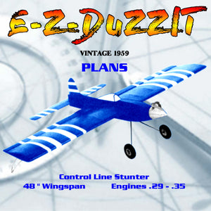 Full Size Plans VINTAGE 1959 Control Line Stunter E-Z-DUZZIT hours of fun and enjoyment.