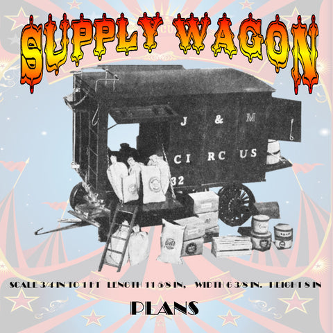Full Size Printed Plans  CIRCUS SUPPLY WAGON Scale ¾ in To 1 ft  Length 11 5/8 in,  Width 6 3/8 in.  Height 8 in