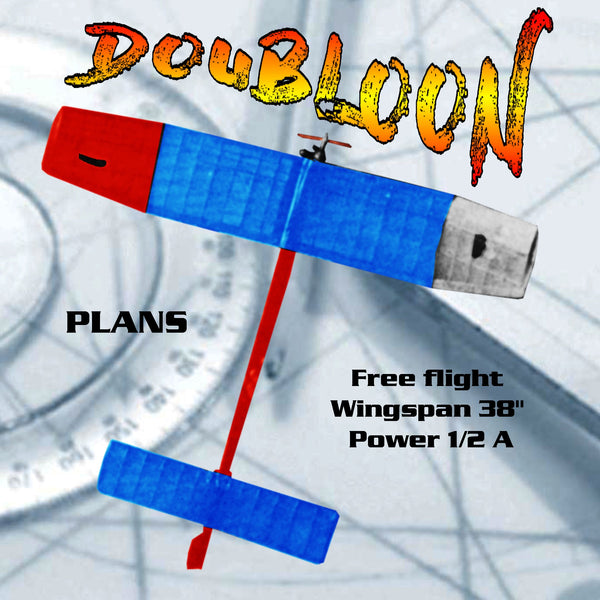 Full Size Printed Plan vintage 1975  1/2A Free flight DOUBLOON  straightforward design