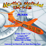 Full Size Printed Plan Scale-Semi 1:24 Martin's Matador TM-61B Jetex 150 to 600  or  Convert to Ducted Fan