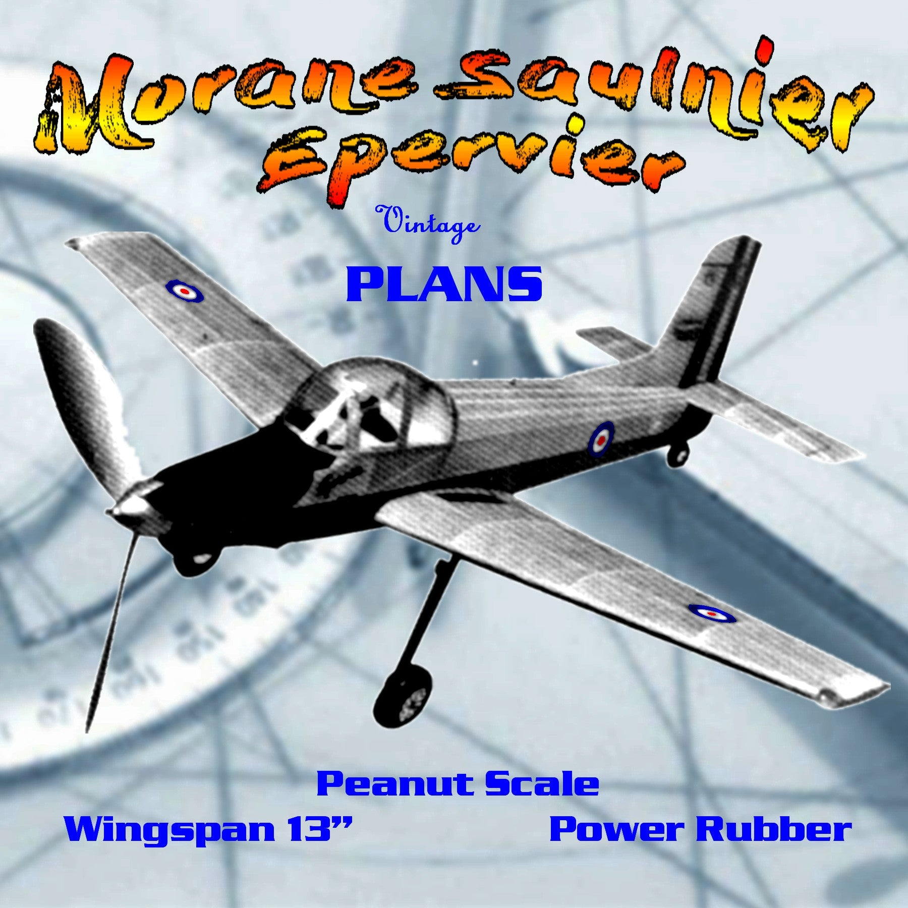 "Full size printed plans Peanut Scale ""Morane Saulnier Epervier""  airplane that just begs to be built."