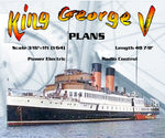 "Full size Printed Plans Scale 3/16""=1ft  Passenger steamer King George V L 49"" Suitable for Radio Control"
