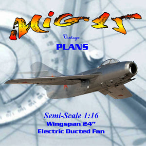 Full Size Printed Plan to build 1:16 Semi Scale MiG 15 electric ducted fan Freeflight
