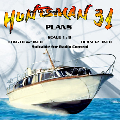 "Full Size Printed Plans SCALE 1 1/2""= 1'   Fairey Marine HUNTSMAN 31 L 42"" Suitable for Radio Control"