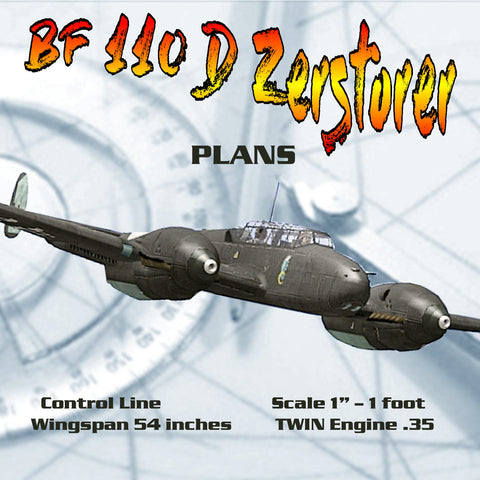 "Full Size Printed Plans  Scale 1"" – 1' Control Line Wingspan 54"" TWIN .35  Messerschmitt BF 11O D Zerstorer"