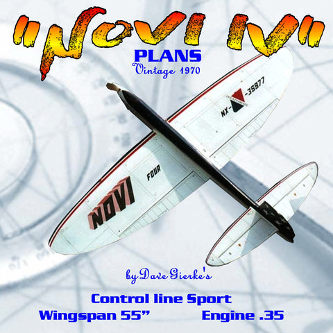 "Full Size Printed Plan Vontage 1970 Control line Stunter ""NOVI IV""  it is clean aerodynamically"
