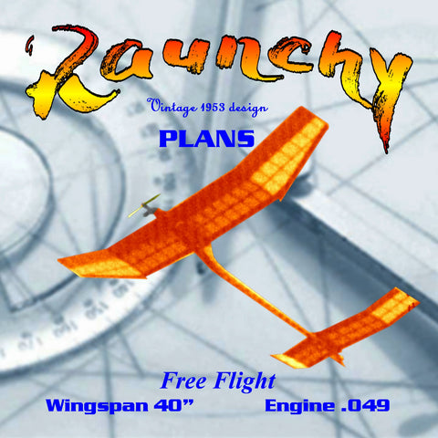 Full Size Printed Plan  1953 Design Nostalgia events Free Flight  Wingspan 40  Engine ½ A Raunchy
