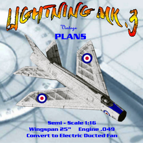 Full Size Printed Plan Spectacular  Semi-Scale 1:16 LIGHTNING MK .3