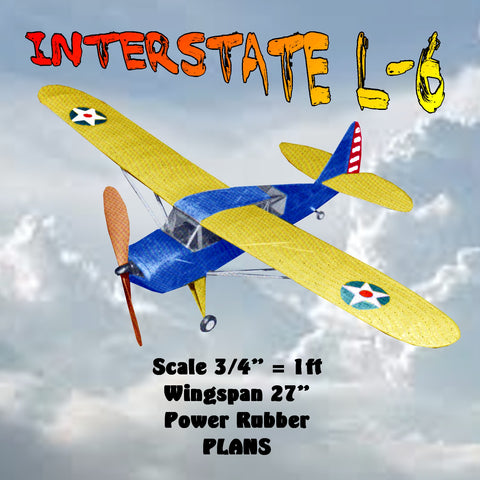 "Full Size Printed Plans with Article INTERSTATE L-6 Scale 1:16 ( ¾"" = 1ft)  Wingspan 27""  Power Rubber"