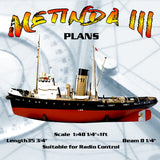 "Full size Printed Plans  Scale  1:48  TUG L 35-3/4""  for Radio Control"