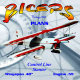 "Full Size Printed Plan big-engine ""BICEPS"" bipe for sport and exhibition control-line flying,"