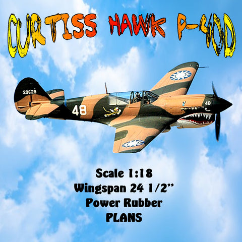"Full Size Printed Plans CURTISS HAWK P-40D Scale 1:18  Wingspan 24 ½""   Power Rubbe"