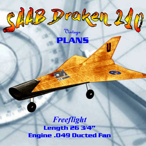 Full Size Printed Plan Free Flight Scale Plane SAAB Draken 210  .049 Ducted Fan
