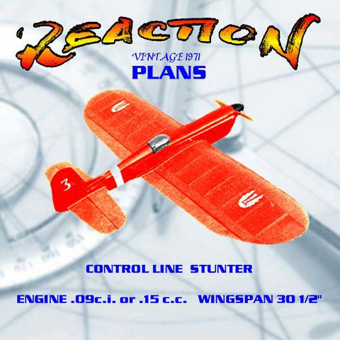 Full Size Plans VINTAGE 1971 CONTROL LINE STUNTER .09 REACTION designed to be as crash-proof as possible