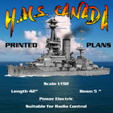 "Full Size Printed Plans H.M.S. CANADA Battleship Scale 1/192  L42""   Suitable for Radio Control"