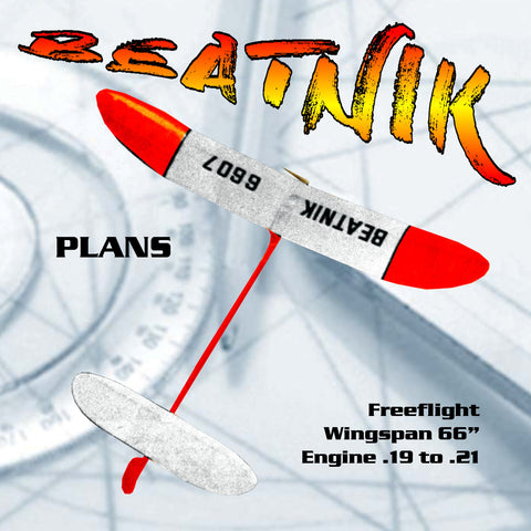 "Full size printed plan from 1960 Freeflight BEATNICK  W/S 66"" construction is very simple"