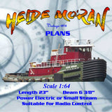 Full Size Printed Plan Scale to build a1:64 unusual tug HEIDE MORAN Suitable for Radio Control