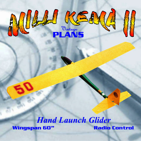"Full Size Printed Plan HAND LAUNCH GLIDER 60 "" W/S for R/C lightweight, simple to build"