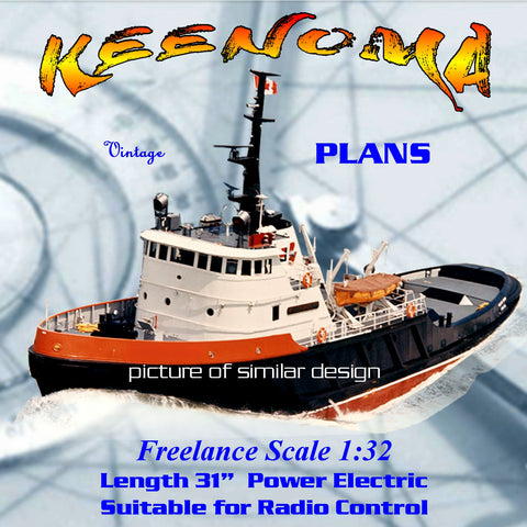 "Full Size Printed Plan freelance modern tug KEENOMA L 31""suitable for Radio Contol"