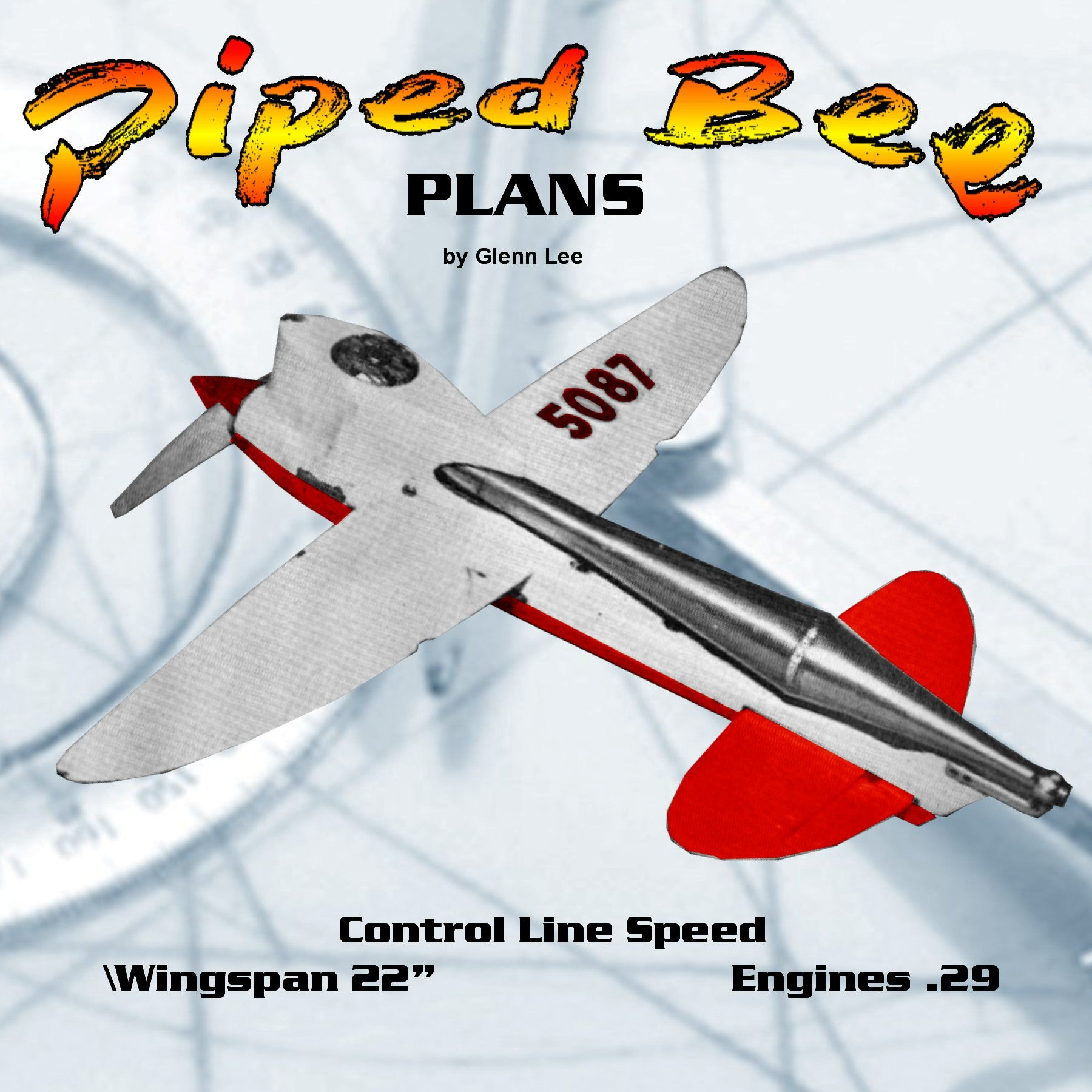 Full Size Printed Plan   CONTROL LINE SPEED Piped Bee CLASS B how to break 200 mph