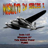 "Full size printed plan MOSQUITO IV SERIES I Scale 1:27  Wingspan 24""  Twin Rubber Power"