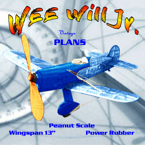 "Full size printed plans Peanut Scale ""WEE Will Jr."" a successful scale model,"