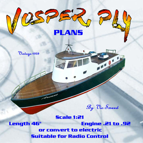 "Full Size Printed Plan Vintage 1959 Scale 1:21 80 ft. personnel launch ""VOSPER, PL4"