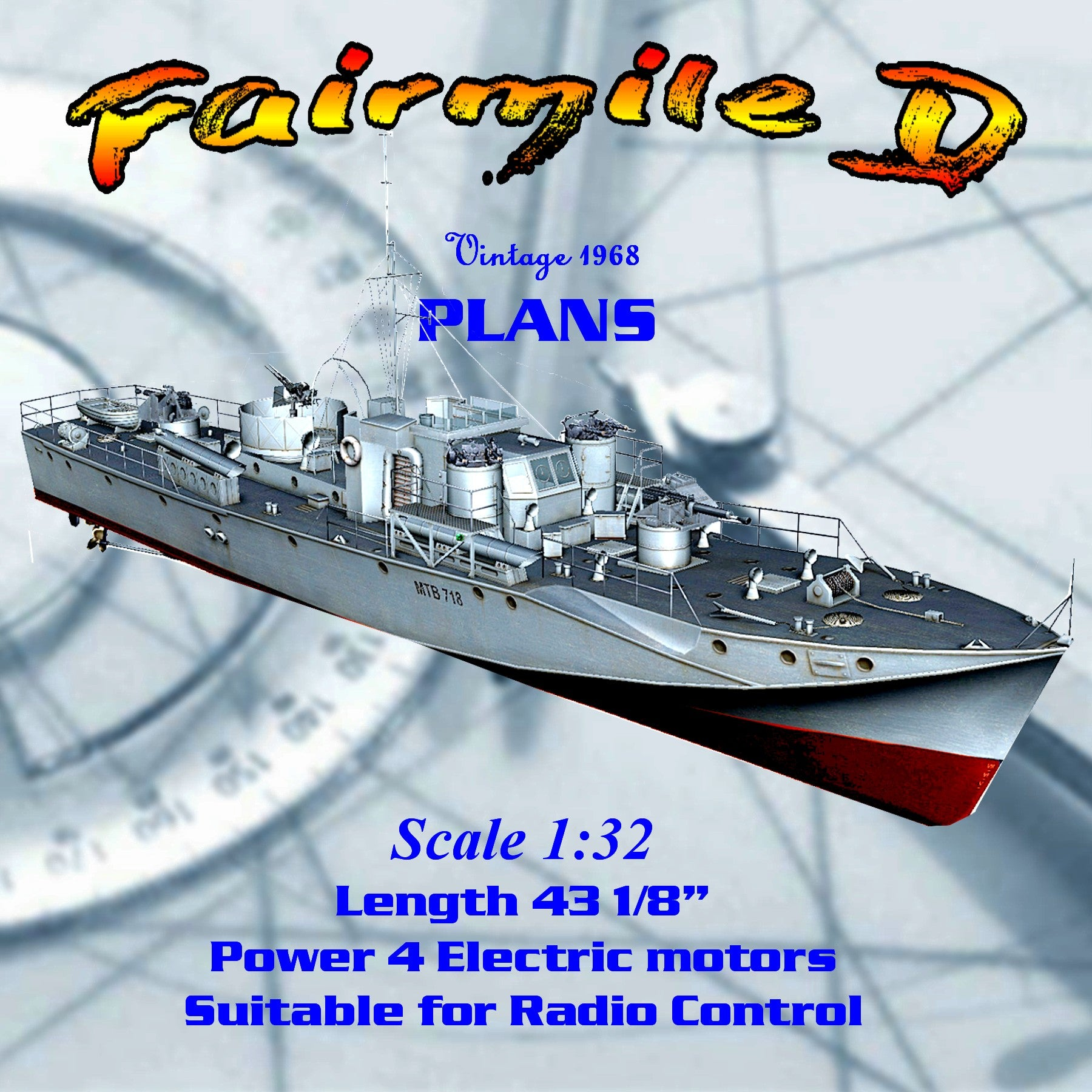 "Model Boat Full Size Printed Plans 1:32 Scale 43"" Fairmile D Rescue Ship for Radio Control"