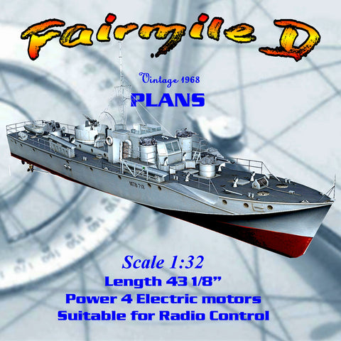 "Model Boat Full Size Printed Plans 1:32 Scale 43"" Fairmile D for Radio Control"