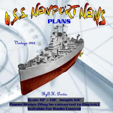 "Full Size Printed Plan  Scale 10"" = 112 HEAVY CRUISER ""U.S.S. NEWPORT NEWS"" Des Moines class"