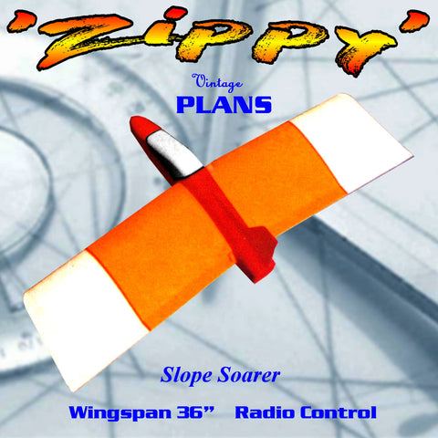 "Full Size Printed Plan  Slope Soarer for Radio Control 'Zippy' 36"" Wingspan"