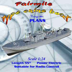 "Full Size printed plans to build a Scale 1/2 = 1ft  (1/24) LO.A. 55""  Fairmile  type chine boat"