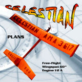 Printed Plan Vintage 1963 FREE-FLIGHT 1/2A CELESTIAN set a National record,
