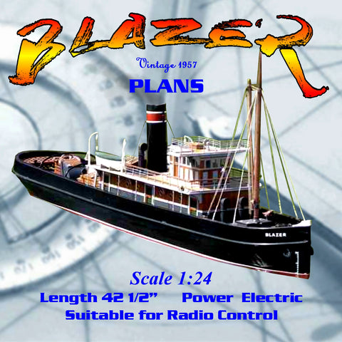"Full size printed plans to Build a large 421/2"" ocean-going tug steam or electric for R/C"
