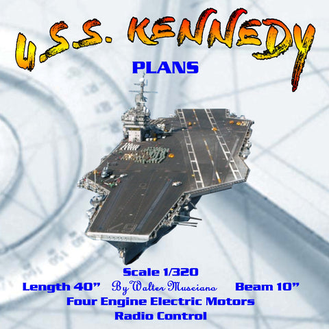 "aircraft carrier Scale 1:320 40"" U.S.S. Kennedy full size printed plan and article for radio control"