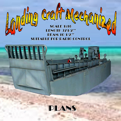 "Full size printed plan Landing Craft Mechanized Scale 1:16  L37 ½""  B 10 ½""  Suitable for radio control"