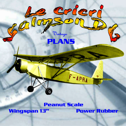 Full size printed plans Peanut Scale Le Cricri  Salmson D6 French light aircraft of the 1930