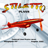 "Full Size Printed Plan  1/2 A  Proto Control Line Speed STILETTO Wingspan 14"" Engine .049"