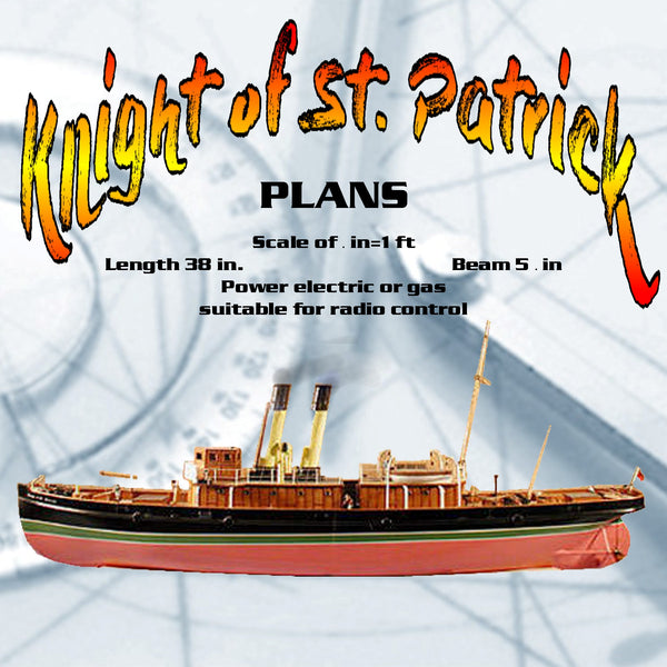 "Full size Printed Plans Ocean Tug  Scale of ¼ in=1 ft L 38"" suitable for radio control"