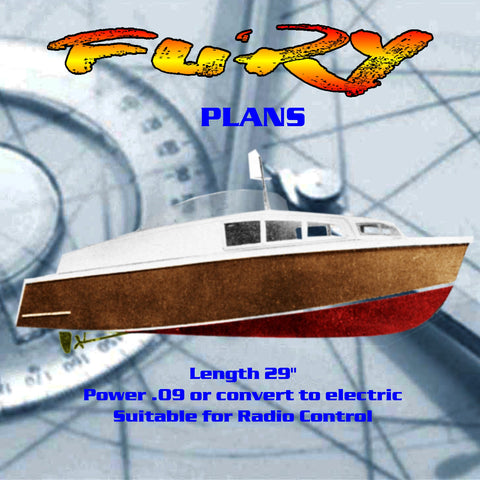 "Full Size Printed Plans Cabin Cruiser L 29"" FURY suitable for radio control"