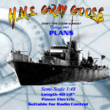 Full Size Printed 1:48 Denny type Steam Gunboat Plan & Article Suitable for Radio Control