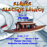 "Full size printed plan Scale 1:12  L 32"" ELANCE ELECTRIC LAUNCH suitable for radio control"